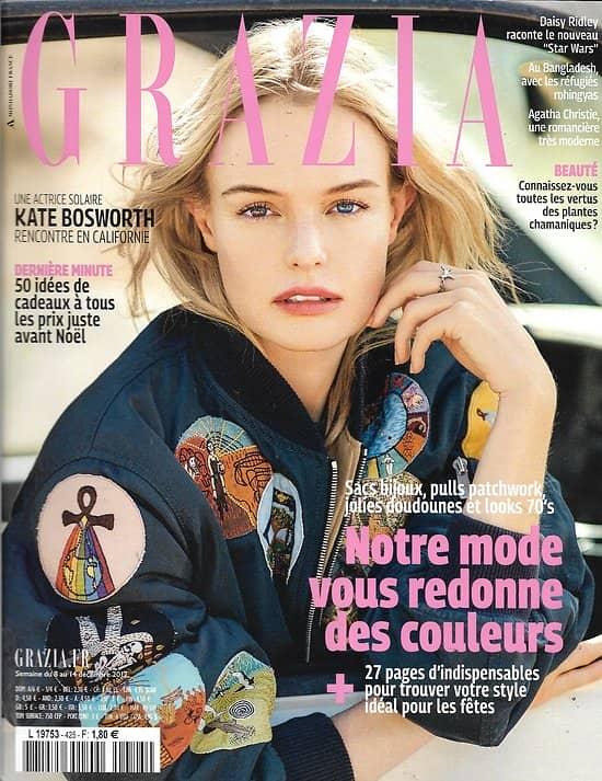 GRAZIA n°425 08/12/2017  Kate Bosworth/ Daisy Ridley/ Agatha Christie/ Piccioli/ Araki/ Klarsfeld