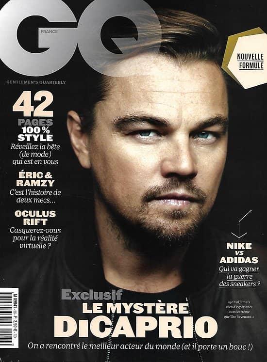 GQ n°96 mars 2016 Leonardo Dicaprio/ Nike vs Adidas/ Bowie/ Kruger/ Eric&Ramzy