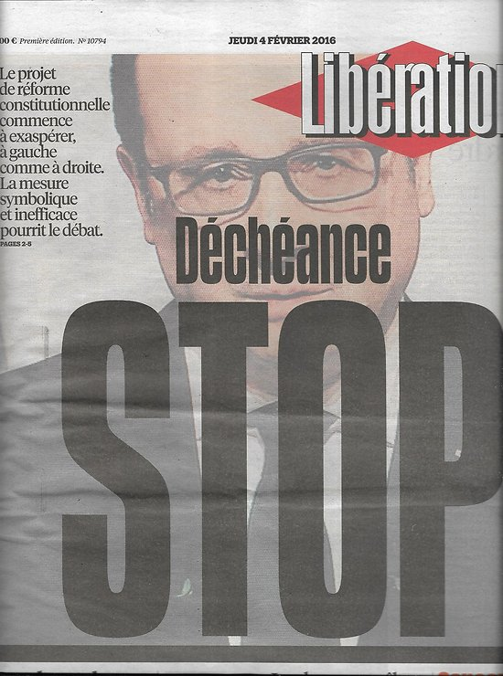 LIBERATION n°10794 04/02/2016  Déchéance: stop/ Lesbos & migrants/ Traitements cancer/ BHL