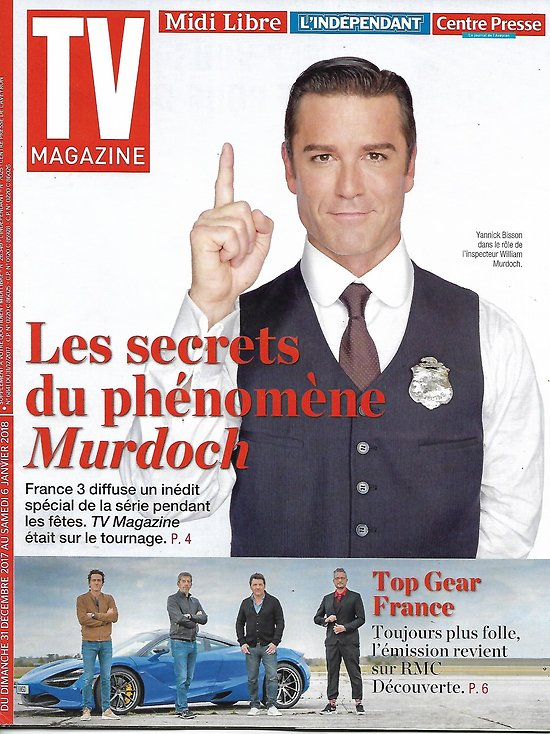"TV MAGAZINE n°22826 31/12/2017  ""Les enquêtes de Murdoch""- Y.Buisson/ ""Top Gear France"""