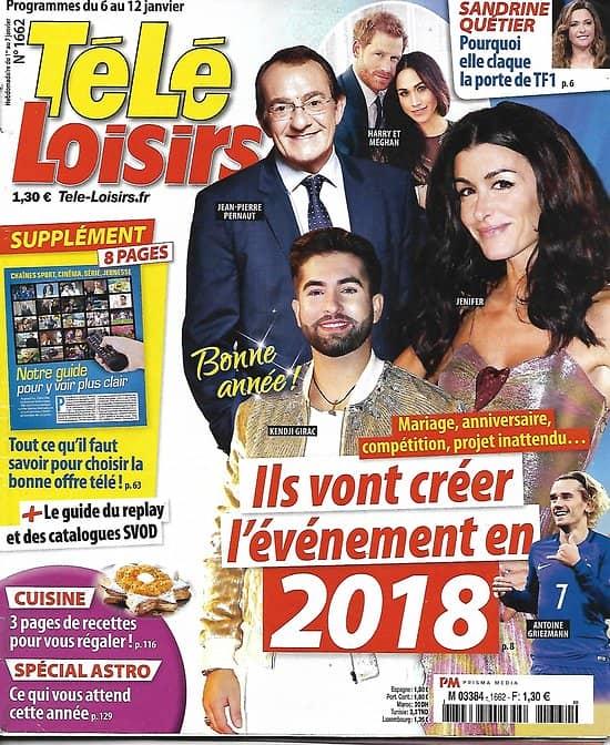"TELE LOISIRS n°1662 06/01/2018  Les stars de 2018/ Vuillemin/ Hallyday/ Titanic/ ""Sam"""