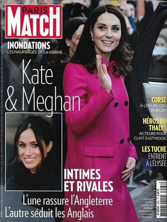 PARIS MATCH n°3586 01/02/2018  Kate Middleton & Meghan Markle/ Les naufragés de la Marne/ Héros du Thalys/ Haute couture/ Jane Goodall