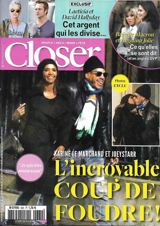 CLOSER n°660 02/02/2018  Le Marchand & Joeystarr/ Brigitte Macron & A.Jolie/ Laeticia Hallyday & David/ Hugh Jackman