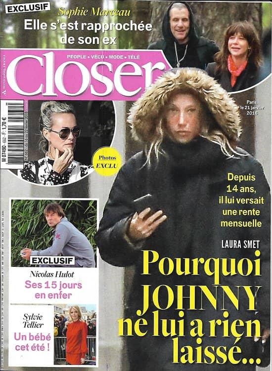 CLOSER n°662 16/02/2018  Laura Smet/ Sophie Marceau/ Nicolas Hulot/ Sylvie Tellier/ T.Beccaro