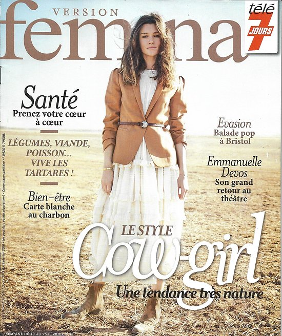 VERSION FEMINA n°829 19/02/2018  Mode cow-girl/ E.Devos/ Bristol balade pop/ Tartares/ Santé: le charbon