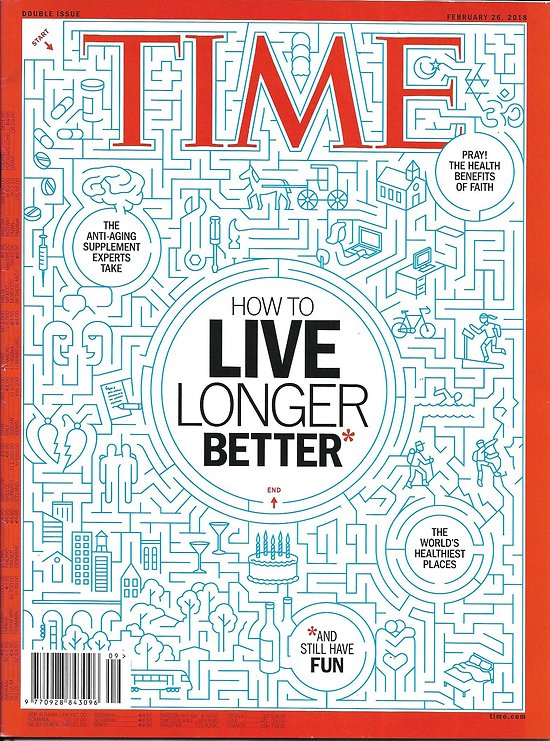 TIME VOL.191 n°7&8 26/02/2018  How to live longer better/ Human smuggling business/ Natalie Portman/ The voters Trump forgot