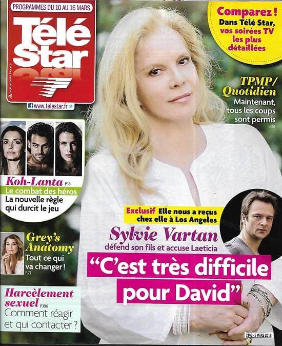 TELE STAR n°2162 10/03/2018  Sylvie Vartan/ Koh-lanta/ Debrandt/ Grey's Anatomy/ Claude François