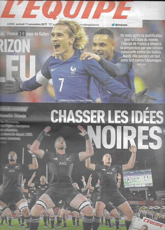 L'EQUIPE n°23122 11/11/2017  les Bleus/ Griezmann/ All Blacks/ Teddy Riner/ Neymar/ GP Brésil/ Zuzulova