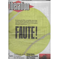 LIBERATION n°10780 19/01/2016  Tennis: matchs truqués/ Rapts entre Libye & Liban/ Loi biodiversité/ tricky/ Tilda Swinton/ Blasphème & liberté d'expression/ Stéphane Bern
