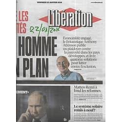 LIBERATION n°10783 22/01/2016  Crime d'Etat/ Réformes de renzi/ Déchéance/ Plan contre exclusion/ Edmonde Charles-Roux/ Paul Watson