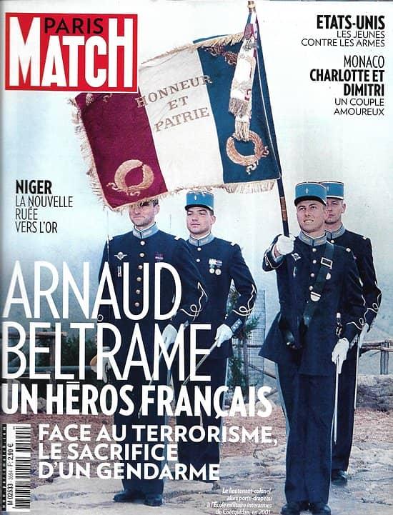 PARIS MATCH n°3594 29/03/2018  Hommage à Beltrame/ USA: jeunes vs armes/ Niger: ruée vers l'or/ F1: les rois du circuit