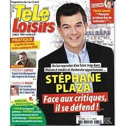 TELE LOISIRS n°1675 07/04/2018  Stéphane Plaza/ Frédéric Lopez/ X-Files/ C.Roux/ Schulz/ Baïot/ Jennifer Lawrence/ Spécial printemps