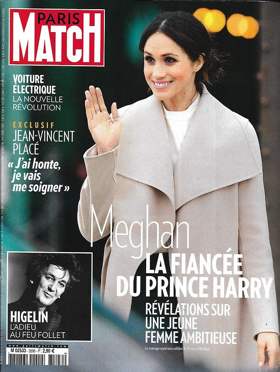 PARIS MATCH n°3596 12/04/2018  Meghan Markle/ Higelin/ Voiture électrique/ Schoenaerts/ Notre-Dame-des-Landes/ Gaza/ Vietnam 1968