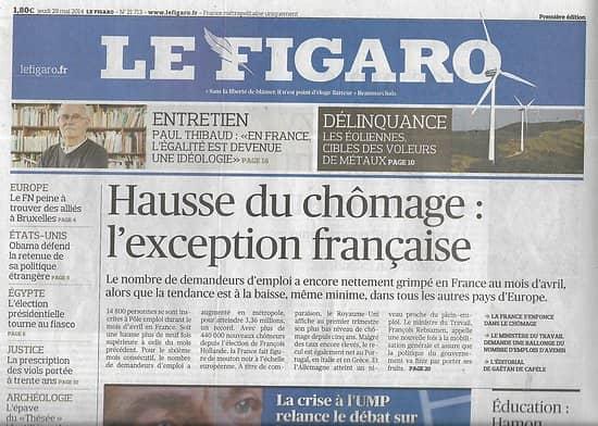 LE FIGARO n°21713 29/05/2014 Hausse chômage/ Retour de sarkozy/ ABC égalité/ Istanbul obsession d'Erdogan