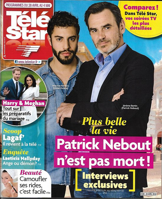 """TELE STAR n°2169 29/04/2018  J.Bertin """"Plus belle la vie""""/ Harry&Meghan/ Laeticia Hallyday/ Lesggy/ C.Masiero"""