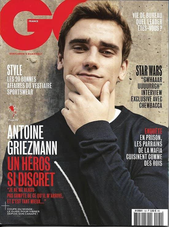 GQ n°120 mai 2018  Antoine Griezmann/ Guide du supporter/ Juge Duchaine/ Erotisme Peccinotti/ Jeff Goldblum/ Baumettes food