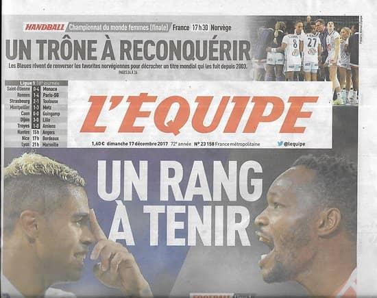 L'EQUIPE n°23158 17/12/2017  Lyon-Marseille/ Tony Yoka/ Gabart/ M.Parra/ C.Bonnet