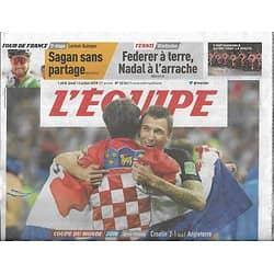 L'EQUIPE n°23361 12/07/2018  Coupe du monde/ les Bleus/ Croatie-Angleterre/ Tour de France/ Federer & Nadal