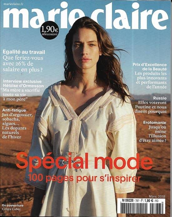 MARIE CLAIRE (POCKET) n°787 mars 2018  Spécial mode/ d'Ormesson/ Fidèles à Poutine/ Léa Drucker/ Crista Cober/ Enthoven/ Van Noten/ Prix beauté