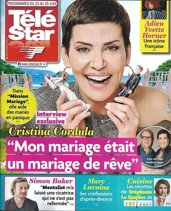 TELE STAR n°2177 23/06/2018  Cristina Cordula/ Simon Baker/ Marc Lavoine/ Simone Veil/ Adjani/ Diane Kruger