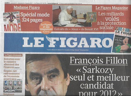 LE FIGARO n°20711 05/03/2011  Fillon/ Khadafi/ Cuba/ Renault/ Dior/ ISF/ Raphaël & Bénabar/ Architecture russe