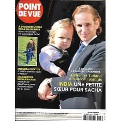 POINT DE VUE n°3483 22/04/2015  Monaco: les Casiraghia/ Margrethe II Danemark/ Chelsea Clinton/ Kate & George/ Cali