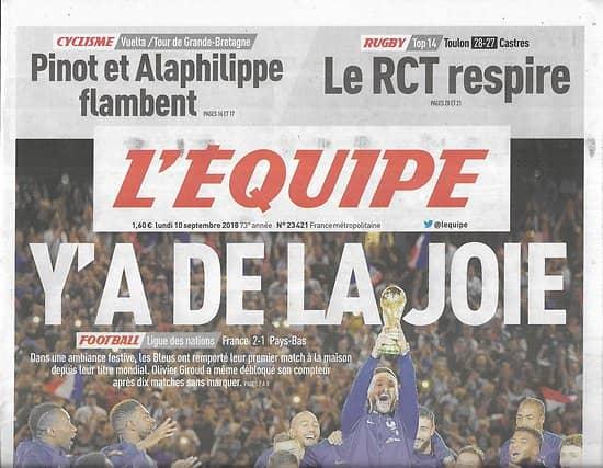 L'EQUIPE n°23421 10/09/2018  Equipe de France: y'a de la joie/ Serena Williams/ Pinot/ Rugby Toulon