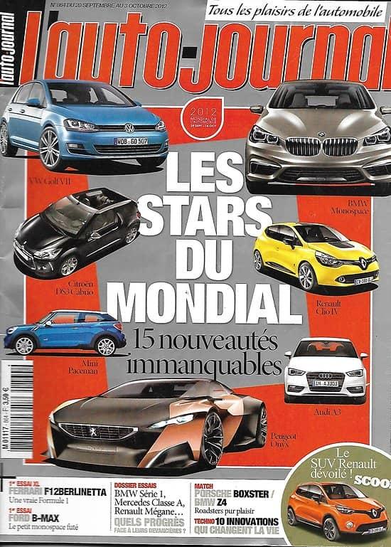 L'AUTO-JOURNAL n°864 20/09/2012  Stars du Mondial de l'Automobile/ Berlines compactes/ Ferrari F12 Berlinetta