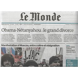 LE MONDE n°21811 03/03/2015  Obama-Nétanyahou: le divorce/ Manifestation à Moscou/ Chrétiens d'Irak/ Mobiles: Apple superstar