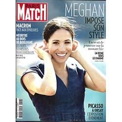 PARIS MATCH n°3617 06/09/2018  Meghan Markle impose son style/ Macron face aux épreuves/ Picasso à Orsay/ Meurtre au bois de Boulogne