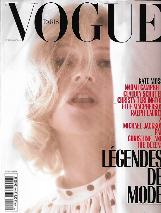 VOGUE n°990 septembre 2018  Kate Moss/ Légendes de mode: Schiffer, Campbell, Le Bon, MacPherson, Turlington, Ralph Lauren