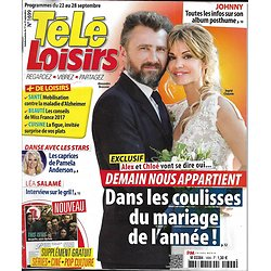 "TELE LOISIRS n°1699 22/09/2018  ""Demain nous appartient"" Chauvin&Brasseur/ This is us/ Mike Horn/ Johnny Hallyday"
