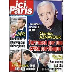 ICI PARIS n°3822 03/10/2018  Charles Aznavour/ les Macron/ Pernaut/ Laeticia Hallyday & Bruel