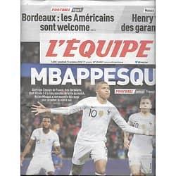 L'EQUIPE n°23453 12/10/2018  Mbappesque/ France-Islande/ Ligue des Nations/ Monaco/ Valverde/ Kostedde