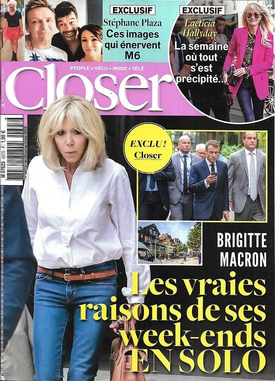 CLOSER n°697 19/10/2018  Brigitte Macron/ Stéphane Plaza/ Laeticia Hallyday/ Meghan Markle/ Cécile de Ménibus