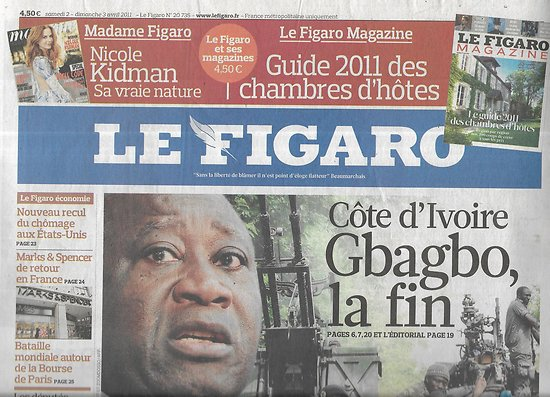 LE FIGARO n°20735 02/04/2011  Gbagbo, la fin/ Affaire Krombach/ Ventes de prestige/ Bataille Bourse de Paris