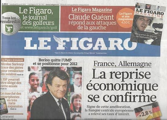LE FIGARO n°20740 08/04/2011  Reprise économique/ 100 ans de supraconductivité/ Musée de Pékin/ Hezbollah/ réforme garde à vue