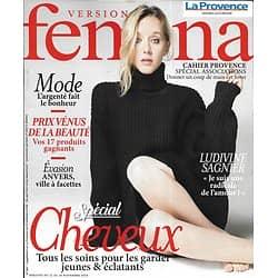 VERSION FEMINA n°867 12/11/2018  Ludivine Sagnier/ Spécial cheveux/ Anvers, le diamant des Flandres/ Le régime happy/ Prix beauté
