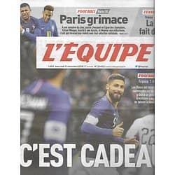 L'EQUIPE n°23493 21/11/2018  Les Bleus: une belle année/ France-Uruguay, but de Giroud/ Paris grimace/ Mats Vilander/ Bastareaud & Fickou/ MotoGP