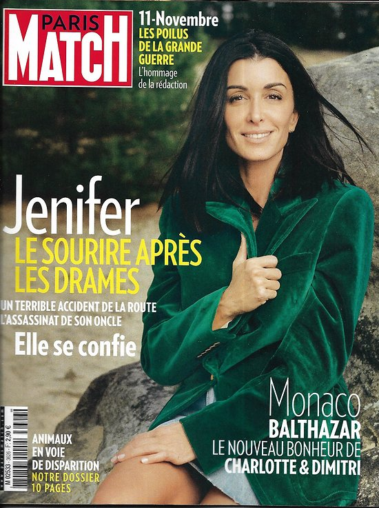 PARIS MATCH n°3626 08/11/2018  Jenifer/ Les Poilus de la Grande Guerre/ Animaux en voie de disparition/ Monica Bellucci/ Migration Mexique