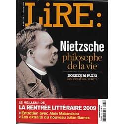 LIRE n°372 février 2009  Nietzsche, philosophe de la vie/ Rentrée littéraire/ Alain Mabanckou/ John Berger