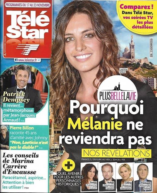 TELE STAR n°2198 17/11/2018  Laetitia Milot-PBLV/ Patrick Dempsey/ N.Leroy/ Fauve Hautot/ Hallyday/ The voice kids