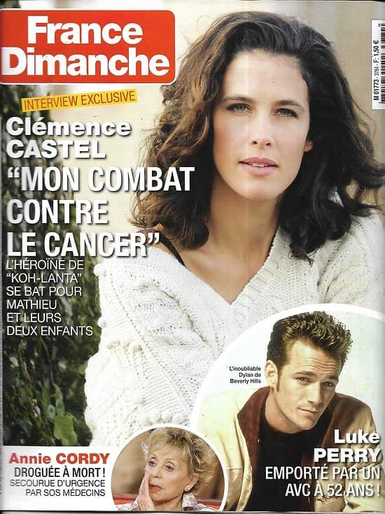 FRANCE DIMANCHE n°3784 08/03/2019  Clémence Castel/ Luke Perry/ Annie Cordy/ Bernard tapie/ Stéphane Bern/ PJ Chalençon
