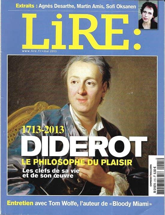 LIRE n°415 mai 2013  Diderot, le philosophe du plaisir/ Tom Wolfe/ Sofi Oksanen/ Joann Sfar/ Alice Munro