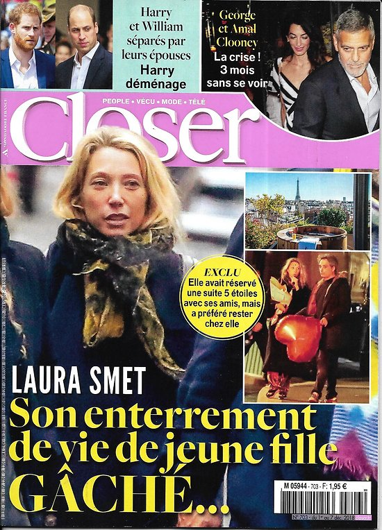 CLOSER n°703 30/11/2018  Laura Smet/ Harry&Williams/ Clooney/ Hallyday/ Chris Pratt/ Heidi Klum/ Kit Harington