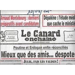 LE CANARD ENCHAINE n°4999 17/08/2016  Hollande vient chercher la bénédiction du pape/ Travaux d'isolation/ Conseillers de l'Elysée