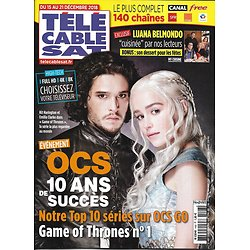 TELECABLE SAT HEBDO n°1493 15/12/2018  Game of Thrones/ OCS/ Luana Belmondo/ Sergio Leone/ Julie Depardieu
