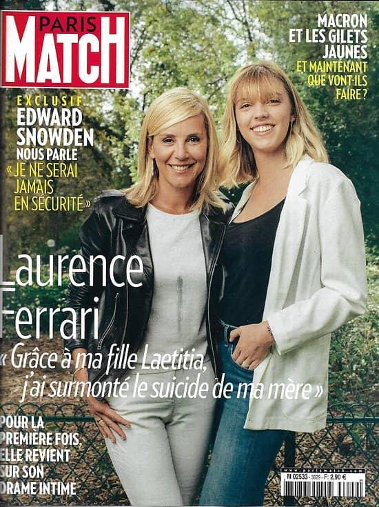 PARIS MATCH n°3629 28/11/2018  Laurence Ferrari/ Macron & les gilets jaunes/ Edward Snowden/ Miss France/ Animaux malades du plastique/ Nationalisme en Europe