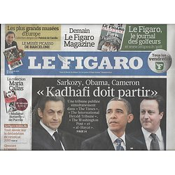 LE FIGARO n°20746 15/04/2011  Libye: tribune de Sarkozy-Obama-Cameron/ Cannes 2011/ Biocarburants/ Boom des tablettes