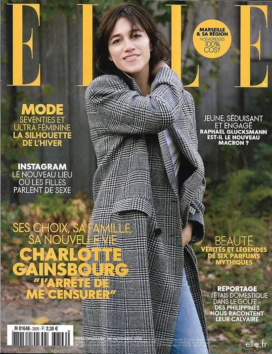 ELLE n°3806 30/11/2018  Charlotte Gainsbourg/ Glucksmann/ Calvaire des domestiques/ Ralph Lauren/ D.Crenn-San Francisco